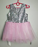 Платье в пайетках с пышной розовой юбкой из фатина для девочки 4-7 лет
