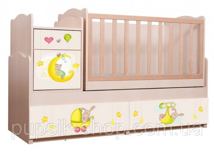 """Кровать - трансформер детская Вальтер """"Зайки"""" 5 в 1 (венге светлый)"""