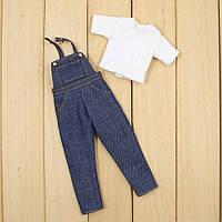 Джинсовый комбинезон и футболка набор одежды для куклы Блайз, Пуллип, Айси. Одежда для Pullip, ICY и Blythe