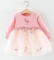 Нарядное платье для девочки Розовый Фламинго 6м - 3г