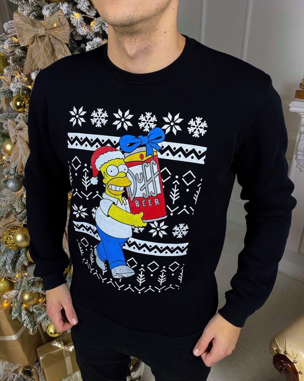😜 Светр Чоловічий чорний светр хіт Нового року з гомером