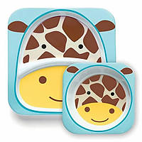 Skip Hop Zoo Набор детских тарелок Жирафик жираф Giraff dakota Melamine Plate Bowl, фото 1