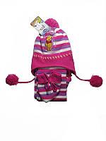 """Детский комплект """"Дисней"""" шапка на завязках+шарф+рукавички 1-2 года (3 ед)"""