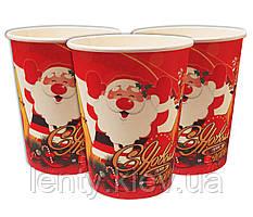 """Стаканчики в стиле """"Новый год""""  (Дед Мороз) (набор 10 шт) бумажные одноразовые на Новый год -"""