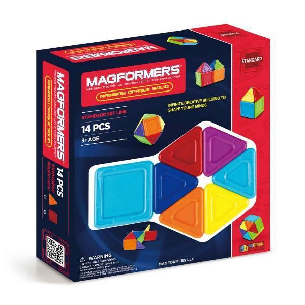 Magformers Магнитный конструктор 14 деталей радужный со сплошным центром 65010 Rainbow Opaque Solid Set
