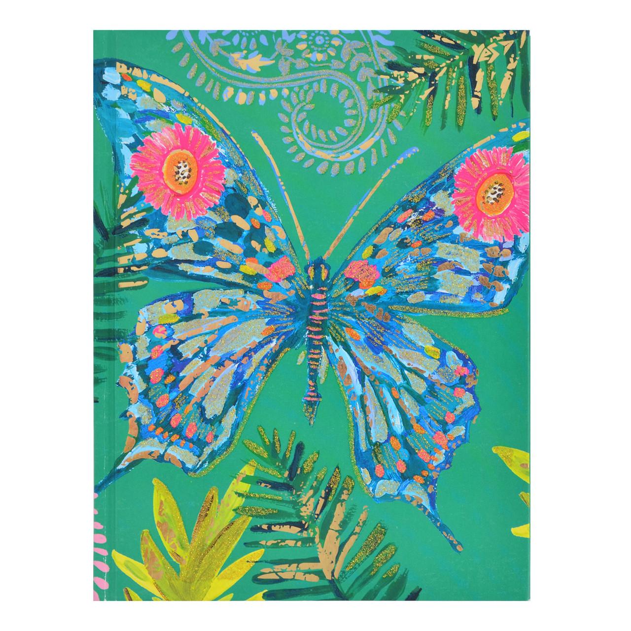 """Блокнот А5/64 КЛ. интег., фольга золото+глиттер золото """"Bon Cote. Butterfly"""" YES   код: 151447"""