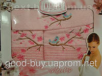 Комплект полотенец Merzuka  100% хлопок салфетка + лицо + баня Турция a17 -1
