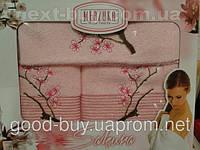 Комплект полотенец Merzuka  100% хлопок салфетка + лицо + баня Турция a16 -1