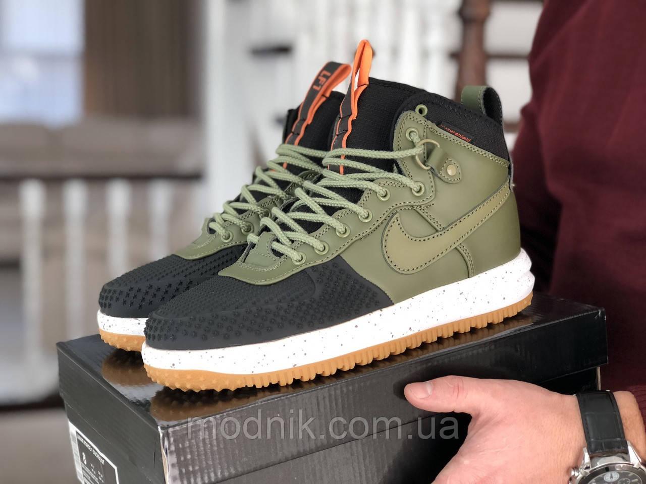 Мужские кроссовки Nike Lunar Force 1 Duckboot (темно-зеленые с черным)