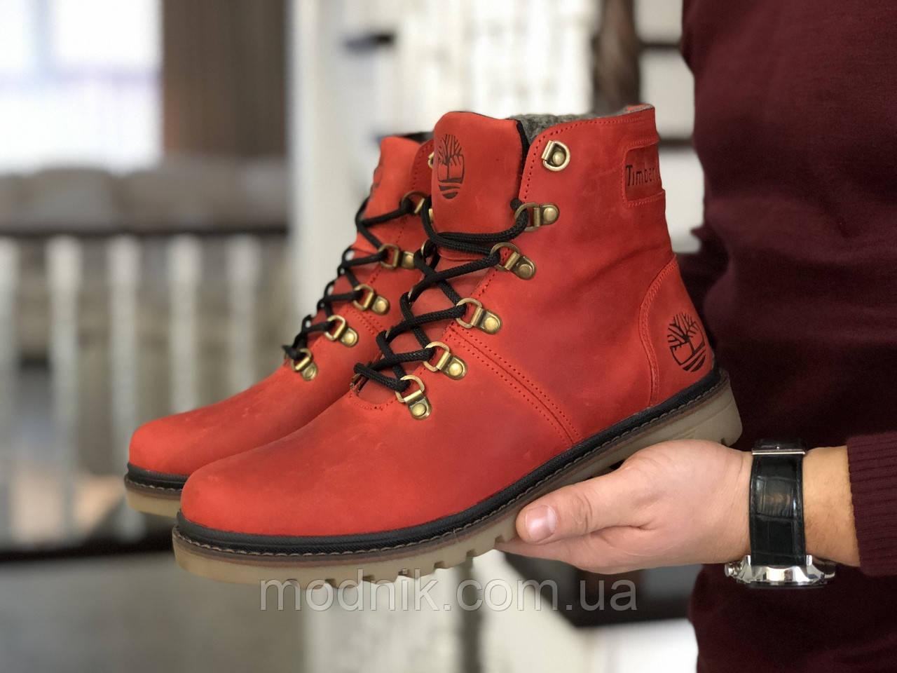 Мужские зимние ботинки Timberland (темно-красные)