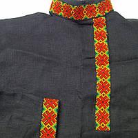 Славянская косоворотка на черном льне