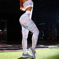 Спортивный костюм для фитнеса (леггинсы + топ), розовый камуфляж