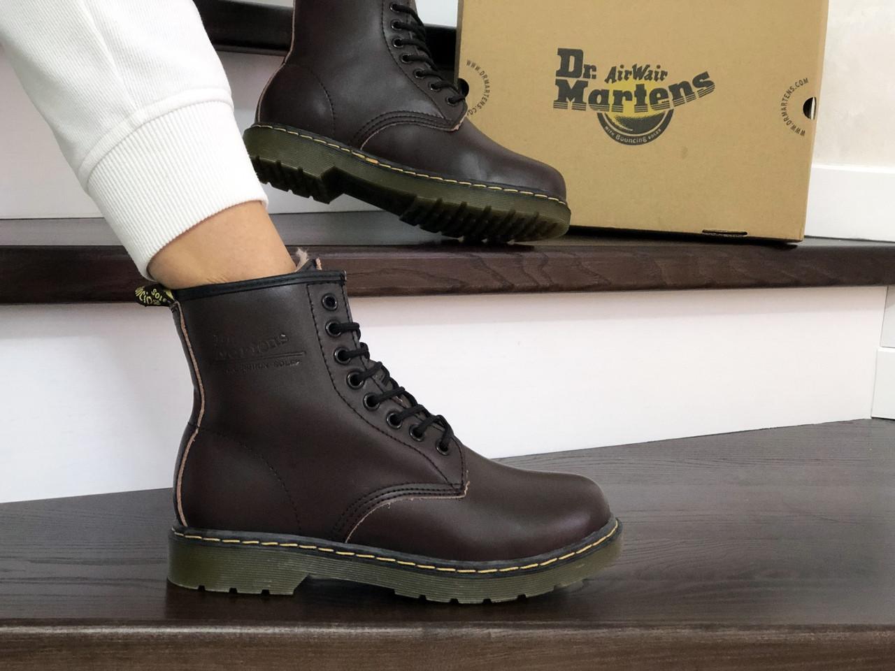 Женские зимние ботинки Dr. Martens 1460 (темно-коричневые)