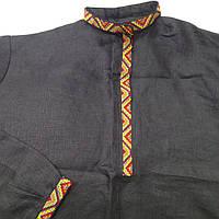 Славянская косоворотка на черном льне, с узкой вышивкой