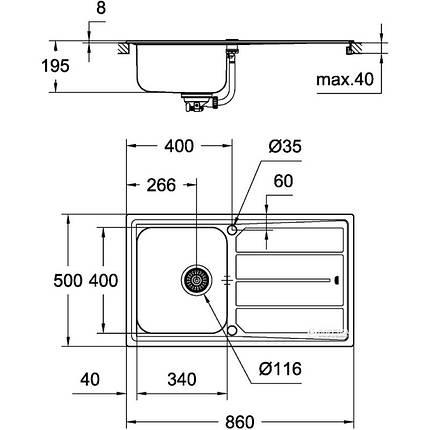 Набор кухонная мойка GroheEXSink31573SD0K500исмесительMinta32168000, фото 2