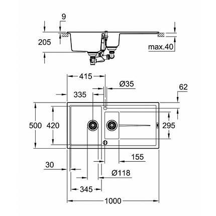 Мойка гранитная Grohe EX Sink K400 31642AP0, фото 2