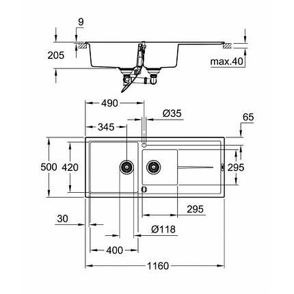 Мойка гранитная Grohe EX Sink K400 31643AT0, фото 2