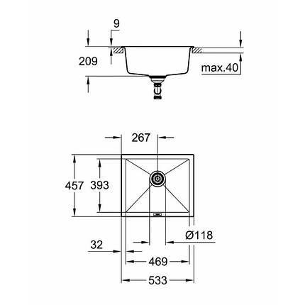 Мойка гранитная Grohe EX Sink K700 Undermount 31654AT0, фото 2