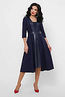 GLEM Полуприталенное синее платье с кожаными вставками Вилора д/р