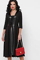 GLEM Полуприталенное черное платье с кожаными вставкам Вилора д/р
