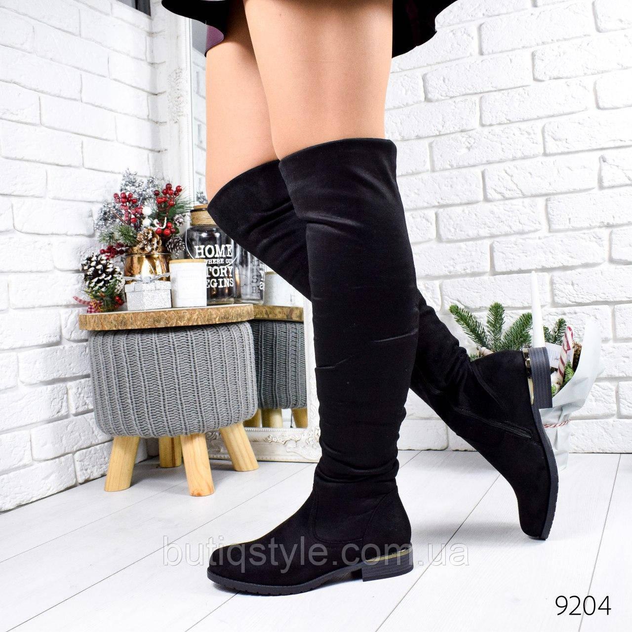 36 размер Черные женские ботфорты эко-замш на низком ходу Деми