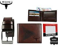 Набор мужской, кошелёк и ремень кожаный  Always Wild Buffalo (PSB-N7-02-GG) Коричневый