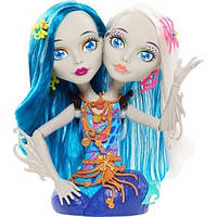 Monster High ГОЛОВА-МАНЕКЕН ПЕРИ И ПЕРЛ ДЛЯ МАКИЯЖА И ПРИЧЕСОК Peri and Pearl Serpentine Styling Head With 30 Accessories Glow In The Dark 6 years Old, фото 1