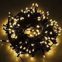 Светодиодная гирлянда LED 100 led, 7 метров, тёплый цвет на чёрном кабеле