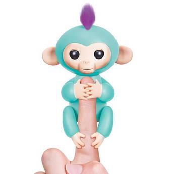 Интерактивная игрушка умная обезьянка-аниматроник Fingerlings Baby Monkey - ручная электронная Бирюзовая
