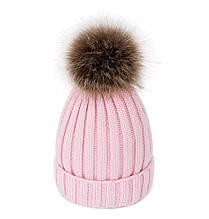 Теплая зимняя шапка с меховой подкладкой и помпоном на девочку 7 - 8 - 9 - 10 - 11 лет светло-розовая пудра