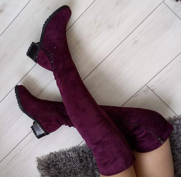 Ботфорти жіночі бордові зимові екозамшеві на середньому каблуку 38р