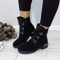 Черевики жіночі чорні зимові екозамша на низькому каблуку.