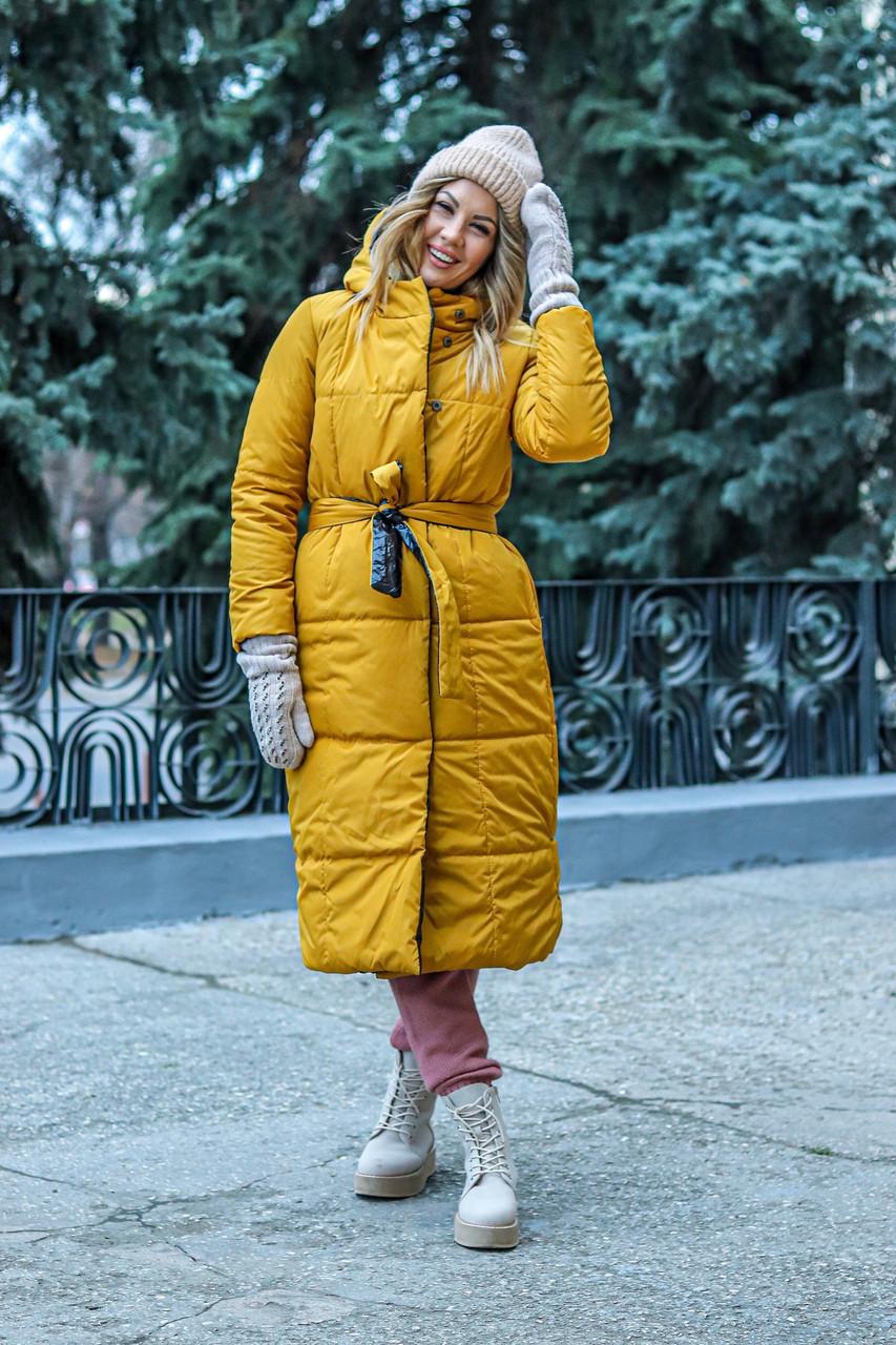 Пальто женское из плащевки на кнопках утепленное синтепоном (К29443)