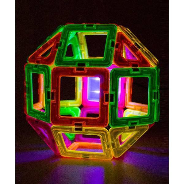 Magformers Магнитный конструктор с подсветкой 28 деталей Neon Blacklight Set 28-pieces