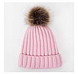 Детская зимняя утепленная шапка на меху с помпоном на девочку 7 - 8 - 9 - 10 - 11 лет, пудра светло-розовая, фото 3