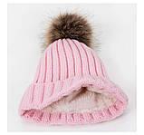 Детская зимняя утепленная шапка на меху с помпоном на девочку 7 - 8 - 9 - 10 - 11 лет, пудра светло-розовая, фото 4