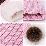 Детская зимняя утепленная шапка на меху с помпоном на девочку 7 - 8 - 9 - 10 - 11 лет, пудра светло-розовая, фото 6