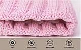 Детская зимняя утепленная шапка на меху с помпоном на девочку 7 - 8 - 9 - 10 - 11 лет, пудра светло-розовая, фото 9