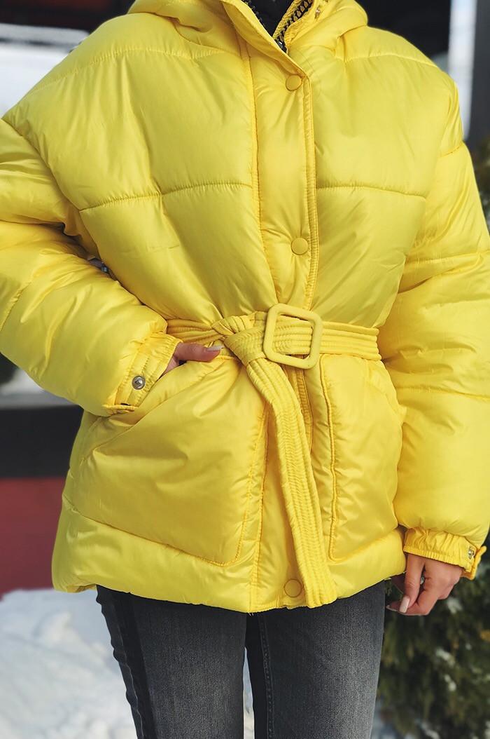 Куртка женская из плащевки с капюшоном (К29444)