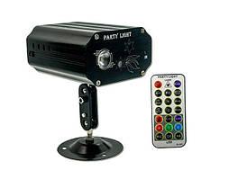 🔝 Лазерный проектор световых эффектов, MINI Party Light EMS083 Чёрный, лазерная гирлянда, светомузыка   🎁%🚚