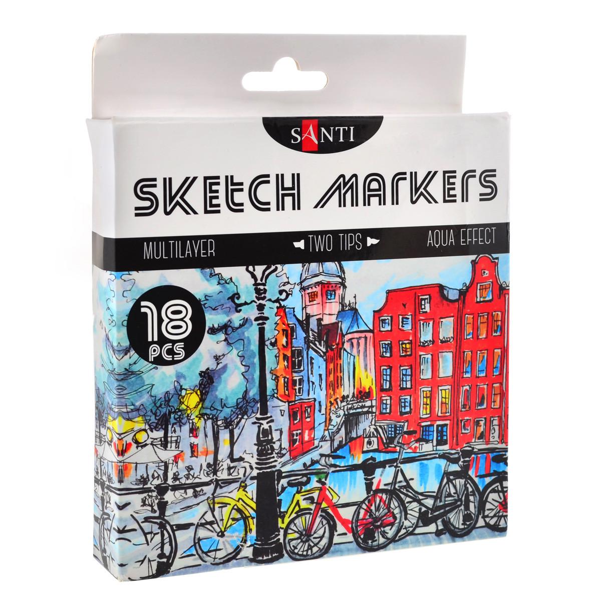 Набор скетч-маркеров для рисования двусторонних Santi sketchmarker , 18шт/уп     код: 390527