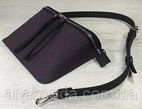 461-5 Натуральна шкіра Сумка на пояс жіноча чорна-фіолет Сумка бананка жіноча шкіряна сумка баклажановая, фото 2