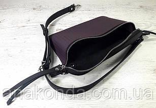 461-5 Натуральна шкіра Сумка на пояс жіноча чорна-фіолет Сумка бананка жіноча шкіряна сумка баклажановая, фото 3
