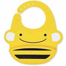 Skip Hop Силіконовий слюнявчик Бджілка Zoo Fold Go Silicone Bib Bee Yellow