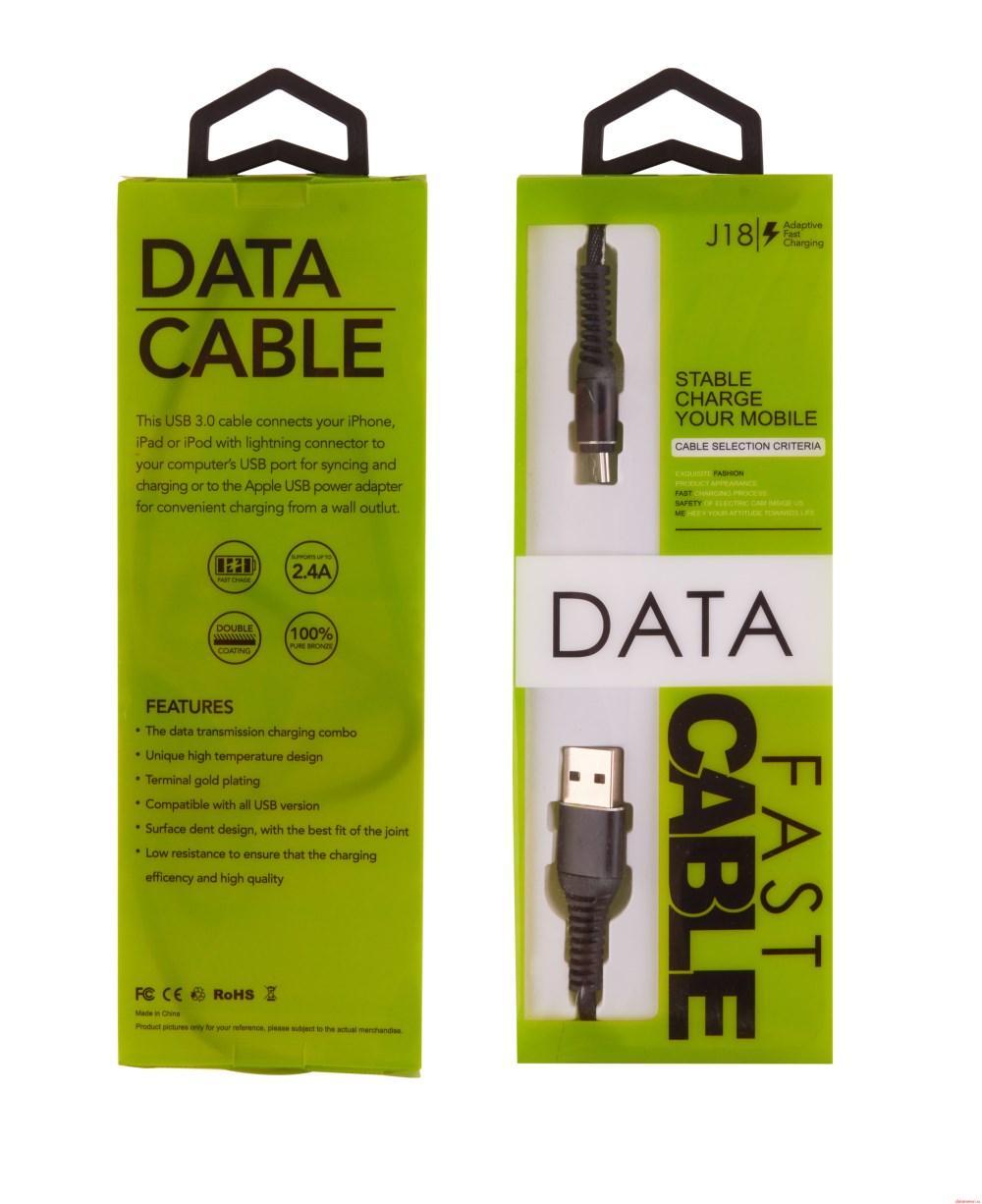 Кабель USB J18 Green Pack 1m 2.4A / micro-USB