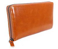 Кожаный клатч рыжего цвета WHEAT002-5 Рыжий