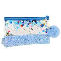 Пенал-косметичка YES с глиттером Galaxy, голубая код: 532710