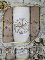 Комплект полотенец Old Seaman  махра - 2 лицо + баня Турция e56 -1