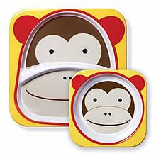 Skip Hop Zoo Набор детских тарелок Обезьянка monkey marshall Melamine Plate Bowl