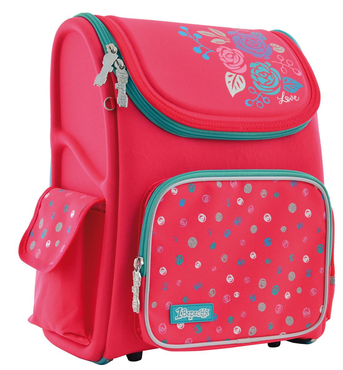 Рюкзак школьный ортопедический каркасный 1 Вересня H-17 Lovely roses код: 556331
